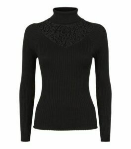 Cameo Rose Black Lace Panel Ribbed Jumper New Look