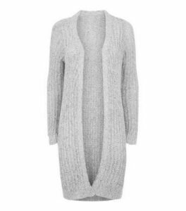 JDY Pale Grey Long Fluffy Knit Cardigan New Look