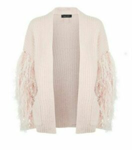 Cameo Rose Pale Pink Fringe Sleeve Cardigan New Look