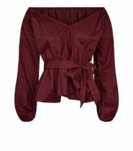 NA-KD Burgundy Bardot Tie Waist Blouse New Look