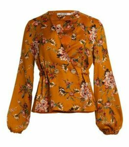 Gini London Mustard Floral Peplum Top New Look