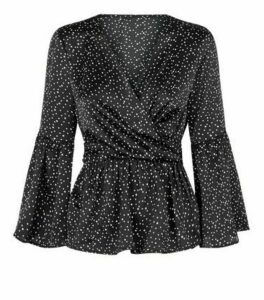 Urban Bliss Black Spot Satin Peplum Blouse New Look