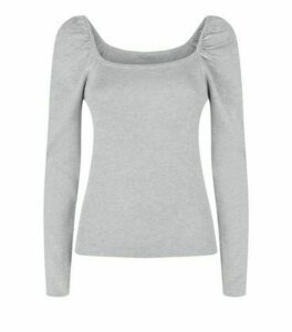 Cameo Rose Grey Puff Sleeve Jumper New Look