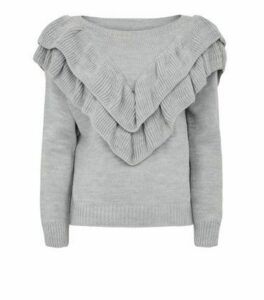 Cameo Rose Grey Frill Trim Knit Jumper New Look