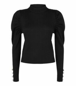 Cameo Rose Black Ribbed Military Puff Sleeve Top New Look