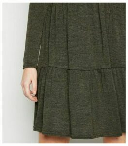Khaki Fine Knit Tiered Mini Smock Dress New Look