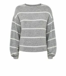 Light Grey Stripe Fine Knit Jumper New Look