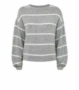 Light Grey Stripe Fine Knit Jumper New Look