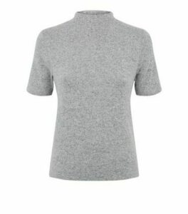 Pale Grey High Neck Brushed Knit T-Shirt New Look