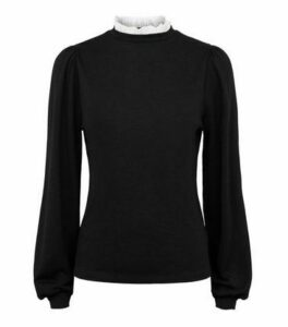 Black Broderie Trim Puff Sleeve Jumper New Look