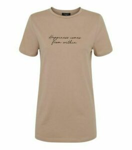 Tall Camel Happiness Slogan T-Shirt New Look