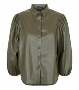 Khaki Coated Leather-Look Puff Shirt New Look