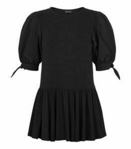 Black Poplin Puff Sleeve Peplum Hem Top New Look