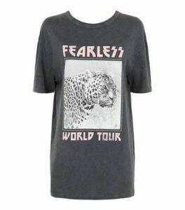 Dark Grey Leopard Fearless Slogan T-Shirt New Look