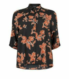 Curves Black Floral Batwing Shirt New Look