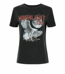 Dark Grey Moonlight Tour Slogan Rock T-Shirt New Look