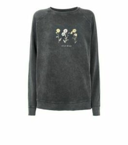 Dark Grey Acid Wash Stay Wild Slogan Sweatshirt New Look
