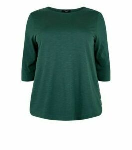 Curves Dark Green 3/4 Sleeve Button Side T-Shirt New Look