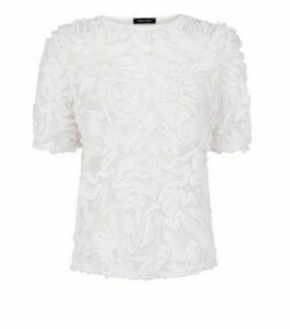 White 3D Floral Mesh Top New Look