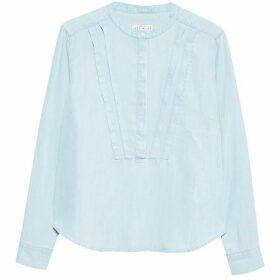 Jack Wills Somerley Pretty Pintuck Shirt - Pale Blue