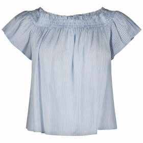 Jack Wills Hazelton Stripe Off Shoulder Top - Sky Blue
