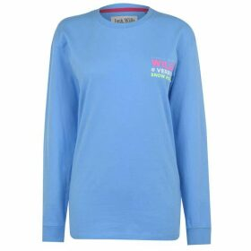 Jack Wills Abcott Long Sleeve Ski Graphic T Shirt - Pale Blue