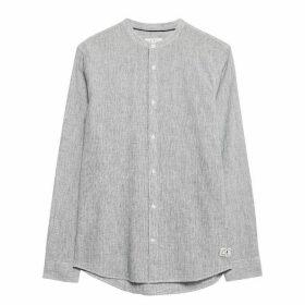 Jack Wills Hetton Stripe Linen Blend Shirt - Navy