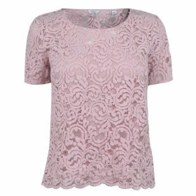 Jack Wills Hurlington Lace Tee - Pink