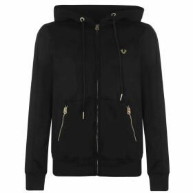 True Religion Zip-Up Logo Hoodie - Black/Gold