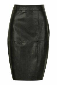 Womens Pu Midi Skirt - black - 10, Black