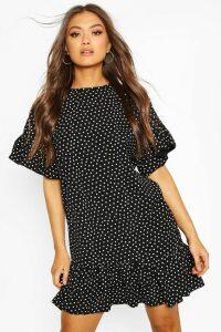 Womens Frill Sleeve & Hem Polka Dot Shift Dress - black - 8, Black