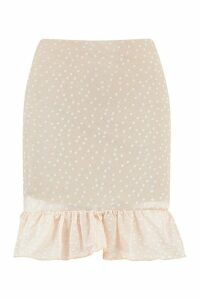 Womens Polka Dot Frill Hem Mini Skirt - Beige - 10, Beige
