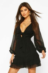 Womens Dobby Chiffon Tie Detail Skater Dress - black - 10, Black