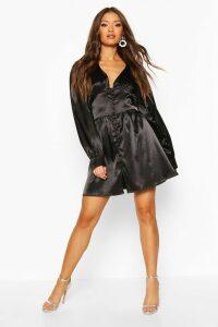 Womens Satin Button Detail Skater Dress - black - 16, Black