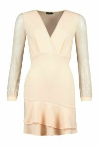 Womens Ruffle Hem Mini Dress With Spot Mesh Sleeves - Beige - 8, Beige