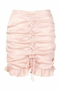 Womens Textured Satin Ruched Lace Up Mini Skirt - Beige - 10, Beige