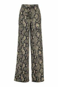 Womens Snake Print Wide Leg Tie Waist Trousers - black - 16, Black