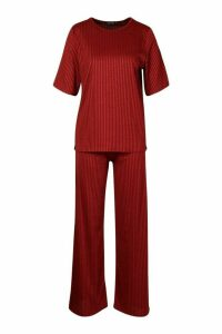 Womens Contrast Rib Oversized T-Shirt & Jogger Co-ord - red - 10, Red