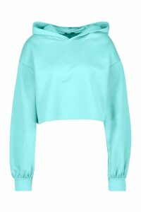 Womens Brooklyn Oversized Balloon Sleeve Crop Hoodie - Blue - 16, Blue