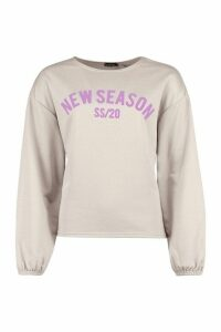 Womens Oversized Balloon Sleeve Slogan Sweat - grey - 14, Grey