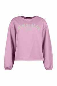 Womens Oversized Balloon Sleeve Slogan Sweat - purple - 14, Purple