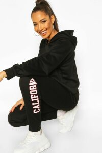 Womens California West Coast Crop Hoodie Tracksuit - black - 16, Black