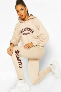 Womens California West Coast Crop Hoodie Tracksuit - Cream - 14, Cream