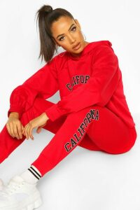 Womens California West Coast Crop Hoodie Tracksuit - red - 14, Red