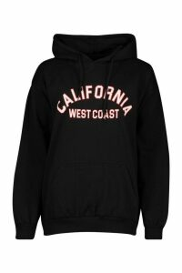 Womens California West Coast Slogan Oversized Hoodie - black - M, Black