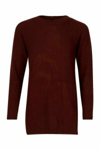 Womens Side Split Moss Stitch Tunic Jumper - red - M, Red