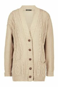 Womens Cable Knit Cardigan - Beige - M/L, Beige