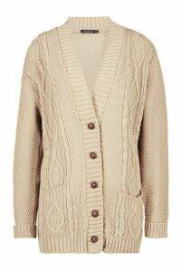Womens Cable Knit Cardigan - beige - M/L, Beige