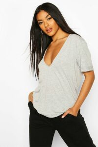 Womens Plunge Front Oversized T-Shirt - Grey - 8, Grey