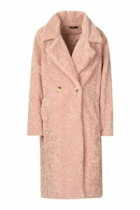 Womens Oversized Textured Faux Fur Coat - pink - 14, Pink